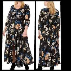 City Chic Black Floral Maxi Dress Size 22 NWOT